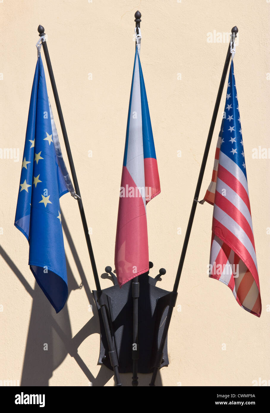 Flags of Czech Republic, USA and European Union - Stock Image