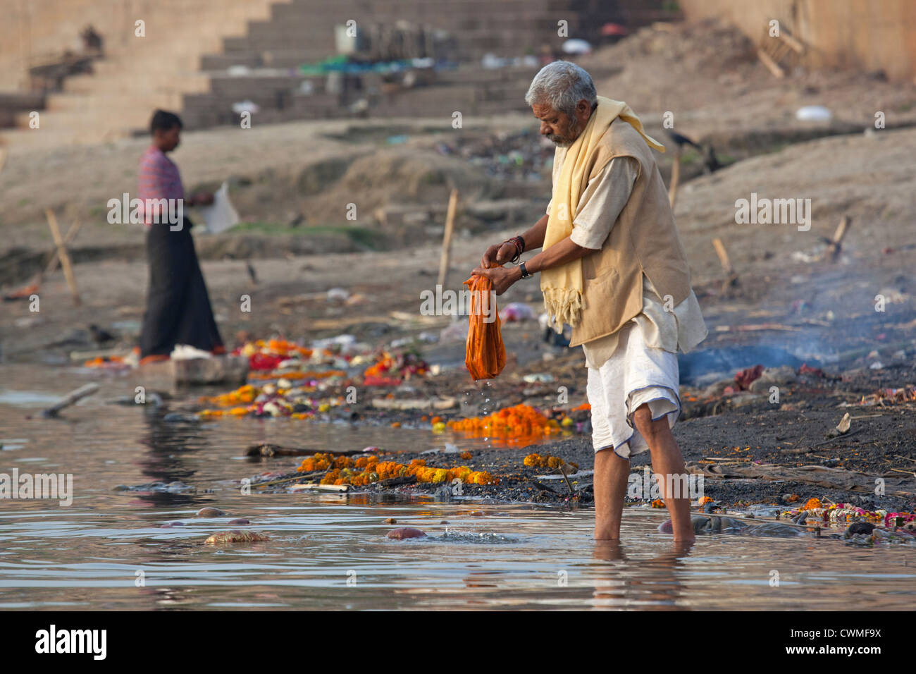 Indian man washing linen in polluted water of the Ganges river at Varanasi, Uttar Pradesh, India - Stock Image