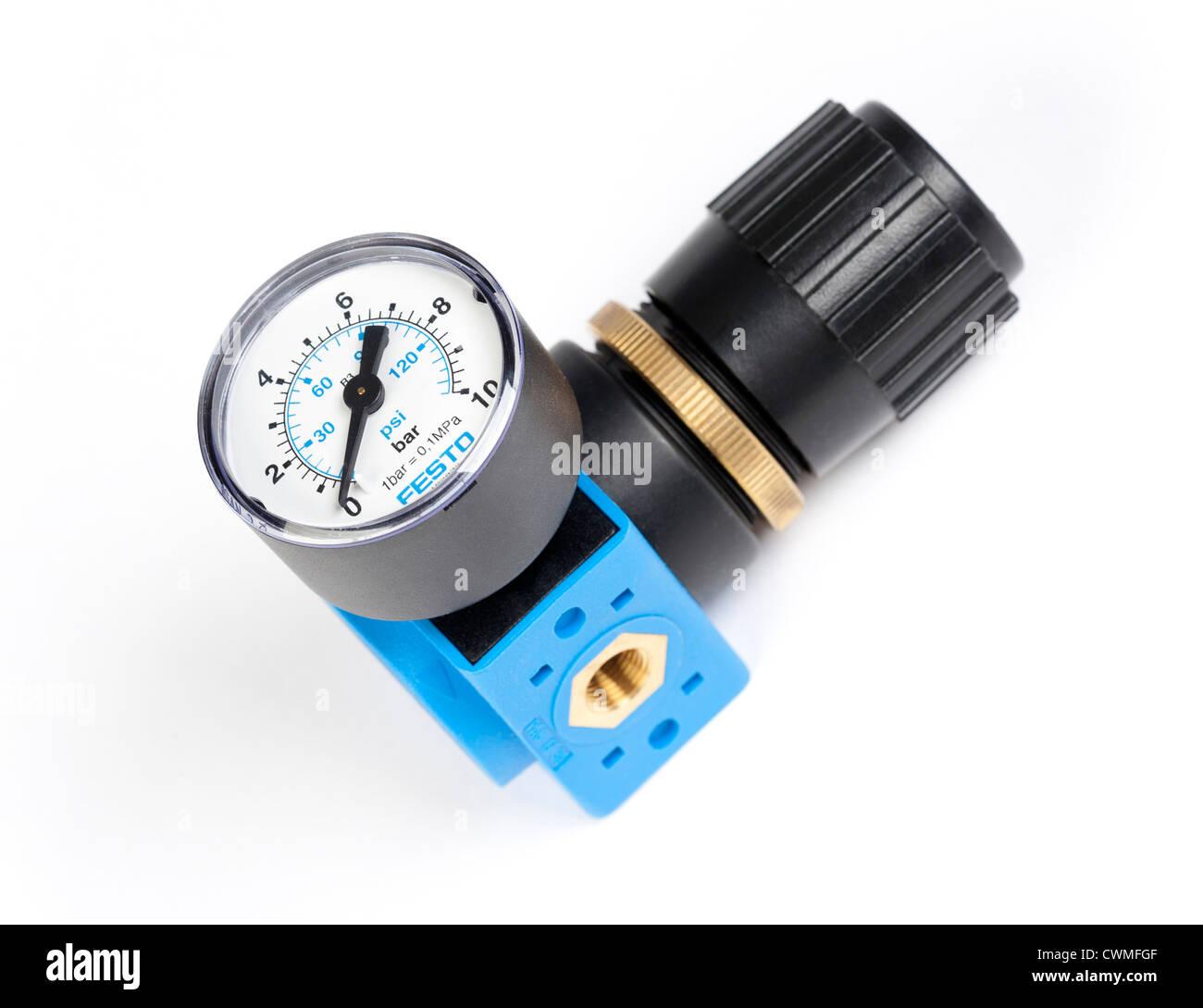 Festo air pressure regulator and gauge Stock Photo: 50238399