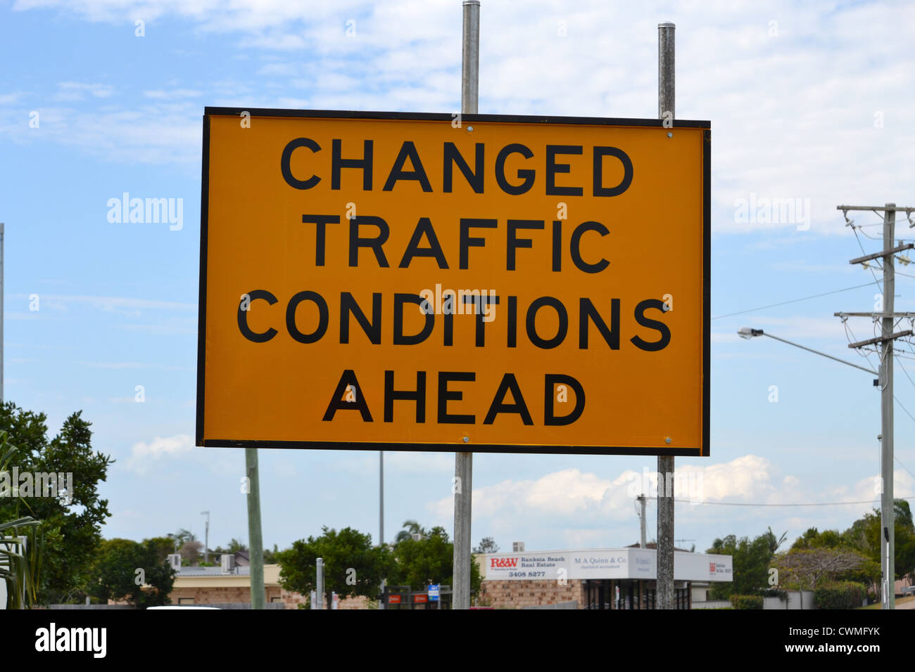 changed traffic conditions ahead sign - Stock Image