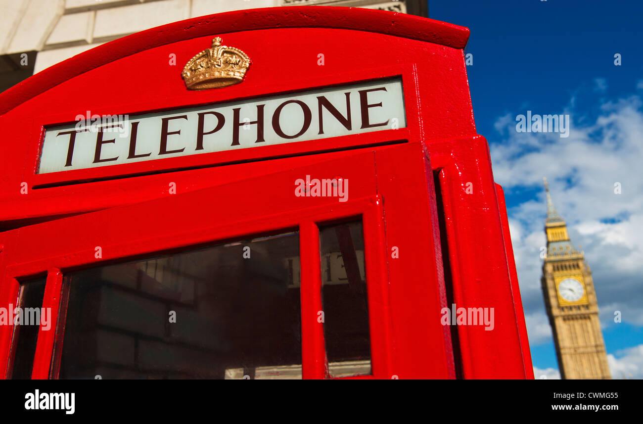 UK, London, Phone booth with Big Ben behind - Stock Image