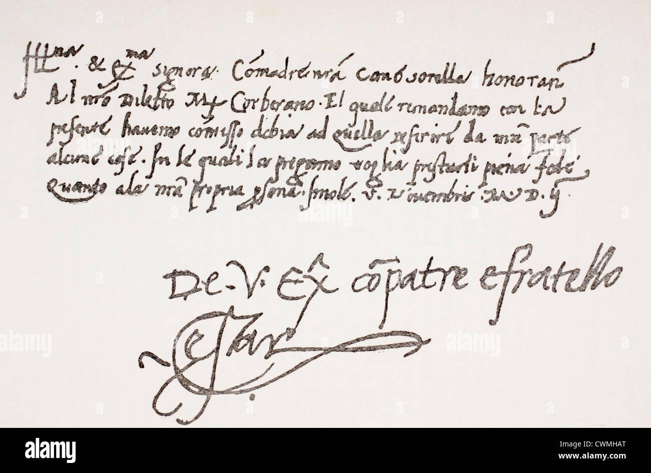 Autograph letter of Cesare Borgia, 1475 or 1476 - 1507 to Isabella Gonzaga. - Stock Image