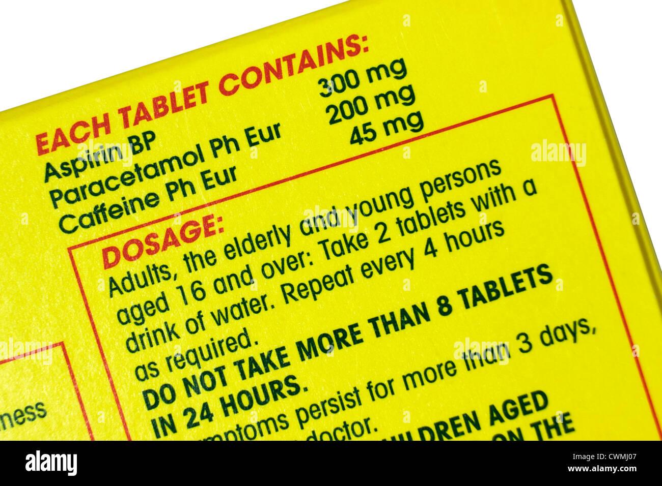 Anadin Extra Dosage Instructions - Stock Image