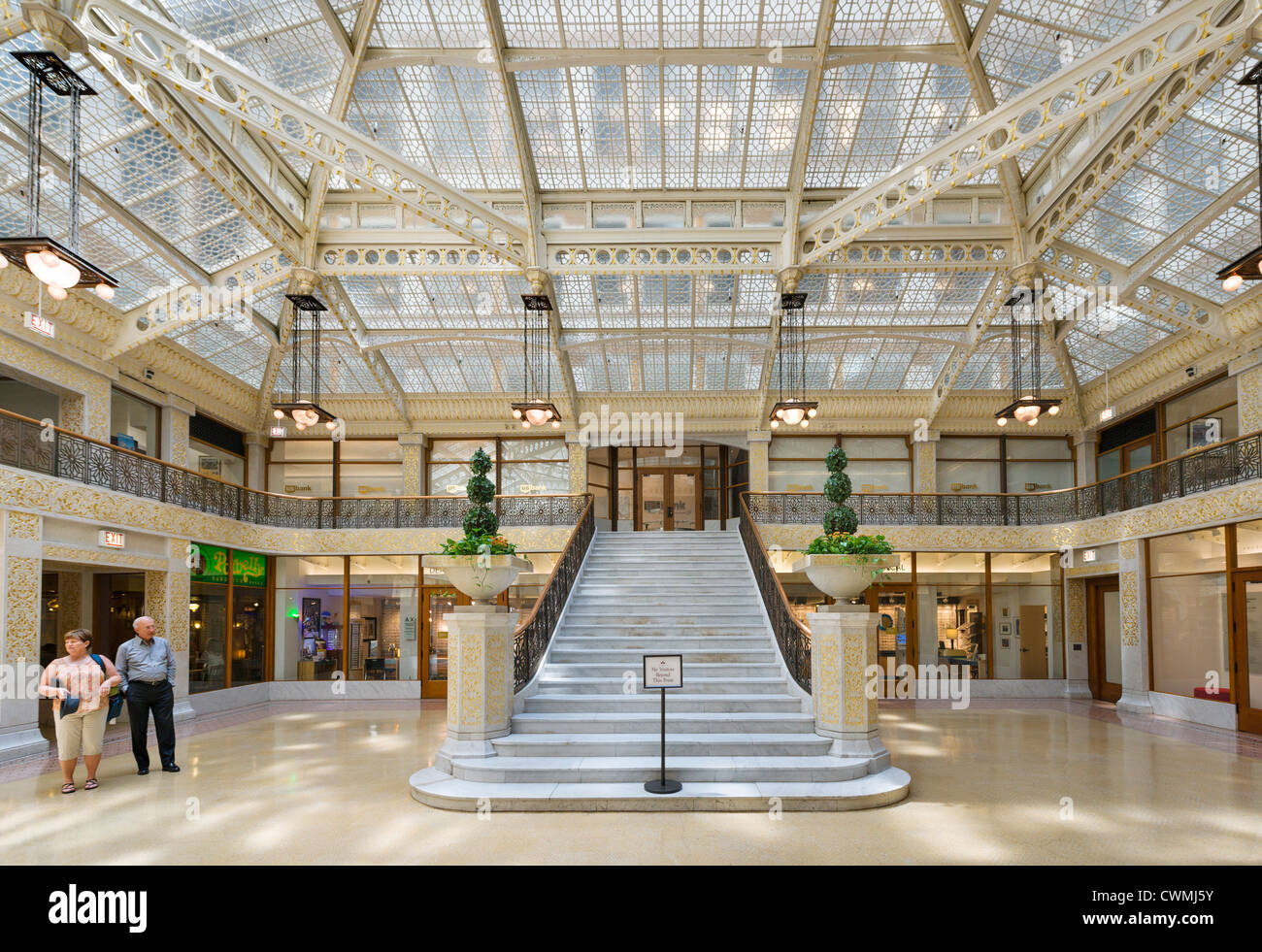 Frank Lloyd Wright designed lobby of The Rookery building on La Salle Street in the Loop district, Chicago, Illinois, Stock Photo