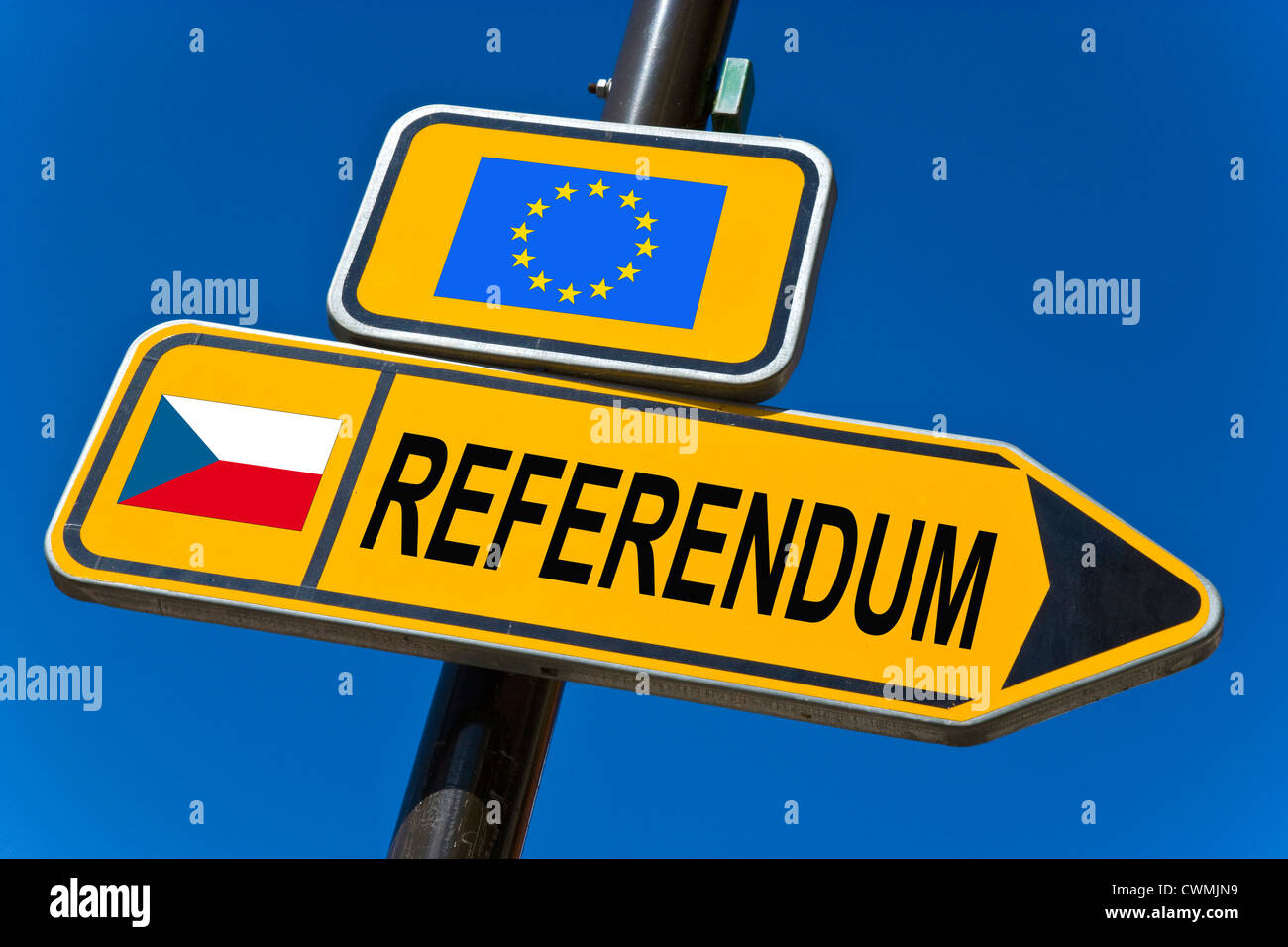 Referendum - European Union and flag of Czech republic - Stock Image