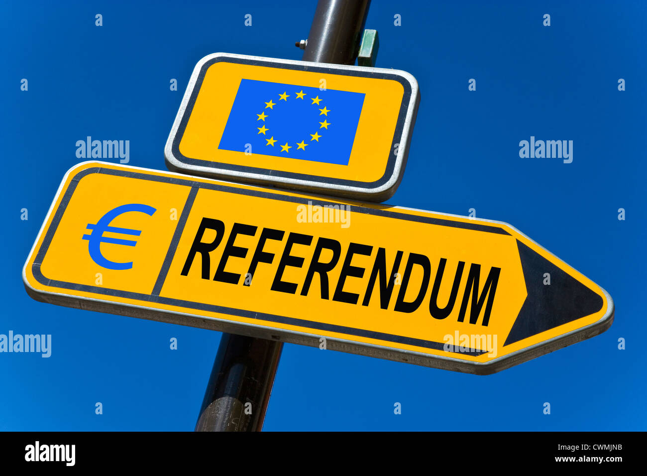 Referendum - European Union and sign of EURO currency - Stock Image