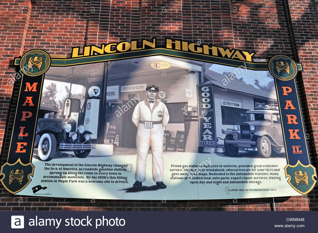 USA Illinois Maple Park Interpretive mural along the Illinois Lincoln Highway National Scenic Byway in northern - Stock Image