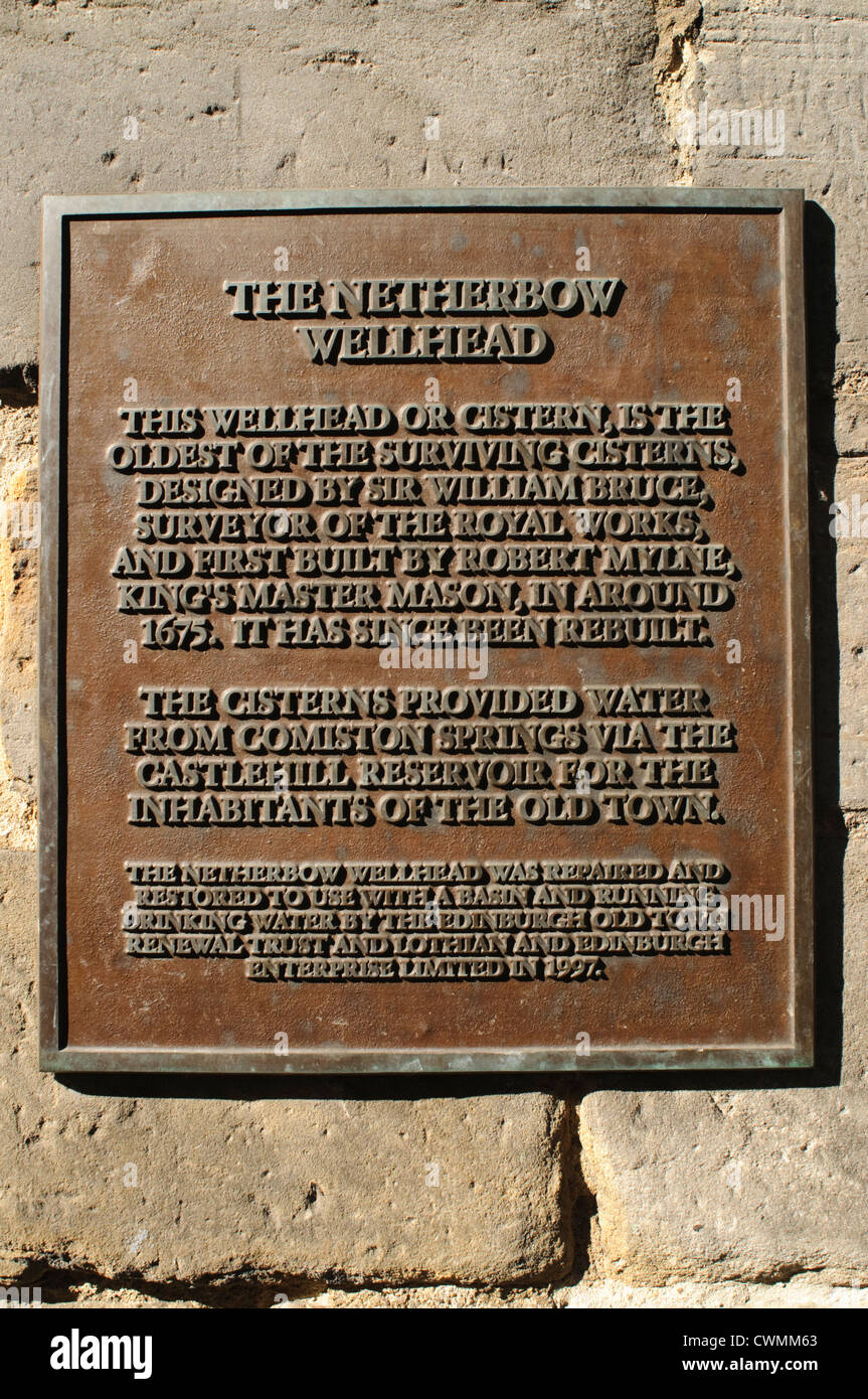 Information plaque on the Netherbow wellhead, outside John Knox house on the  Royal Mile, Edinburgh, Scotland, UK. Stock Photo