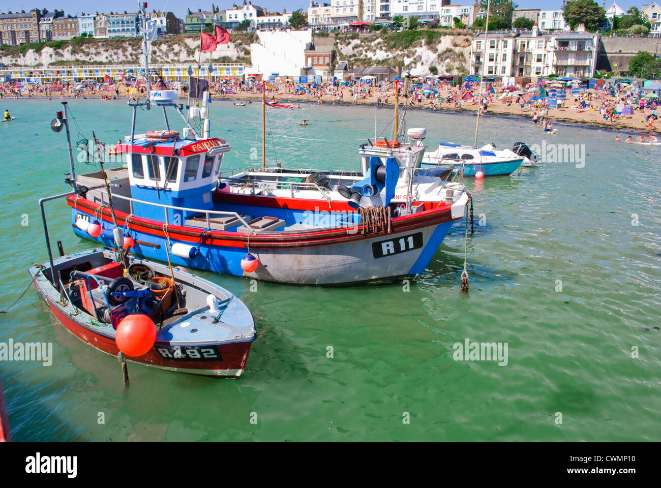 Boats docked in Broadstairs, Kent. Kent is also known as the garden of England. - Stock Image
