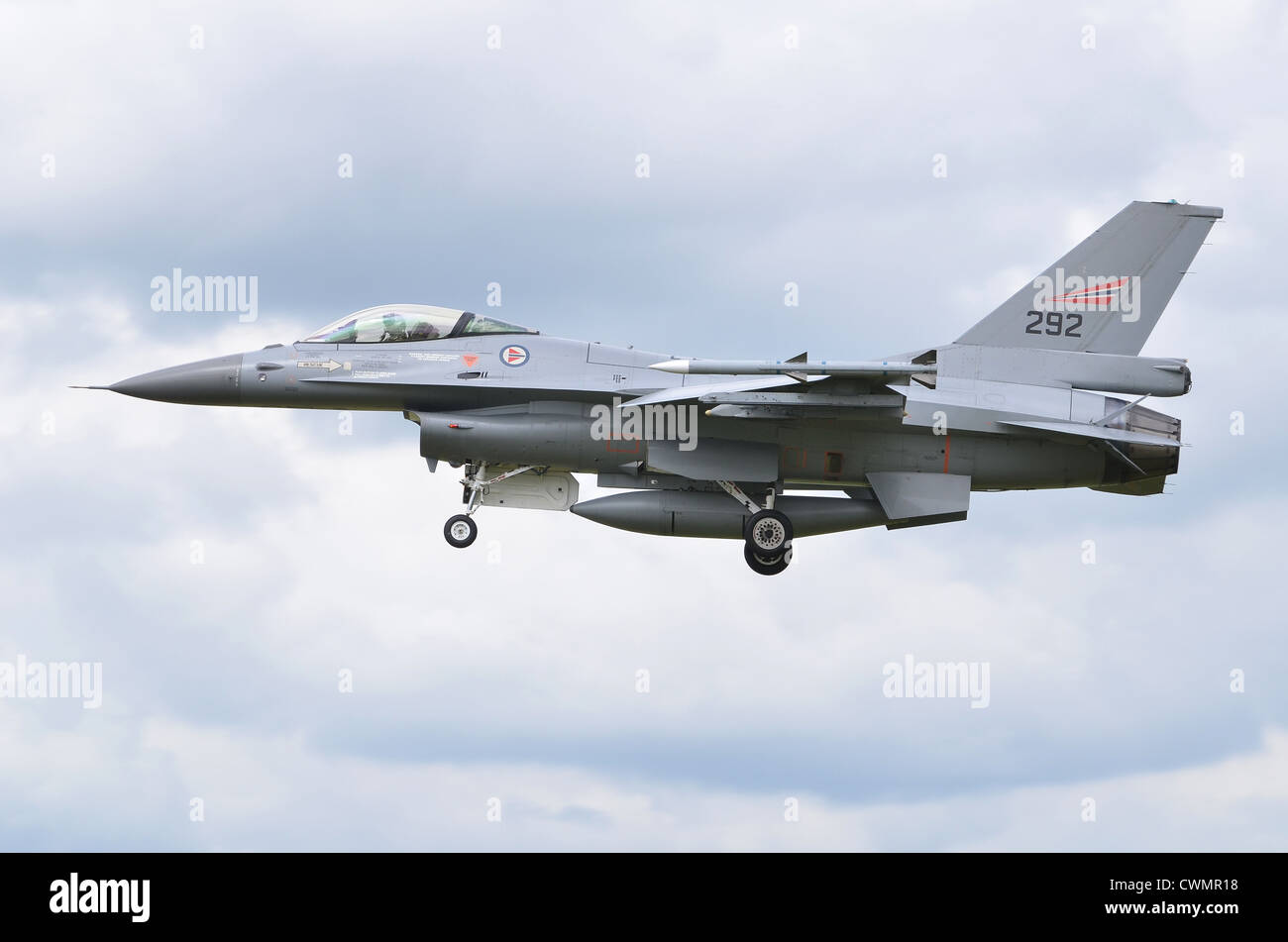 General Dynamics F-16AM Fighting Falcon operated by the Norwegian Air Force on approach for landing at RAF Fairford - Stock Image