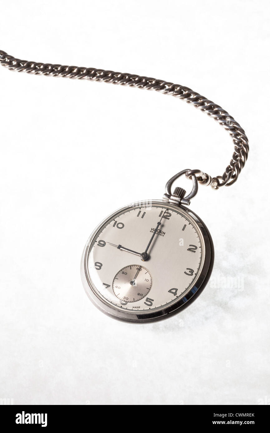 Still Life vintage Vulcain Grand Prix Pocket watch and chain - Stock Image