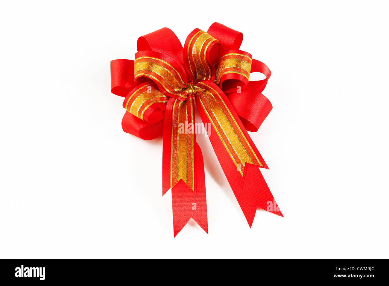 red bow ribbon - Stock Image