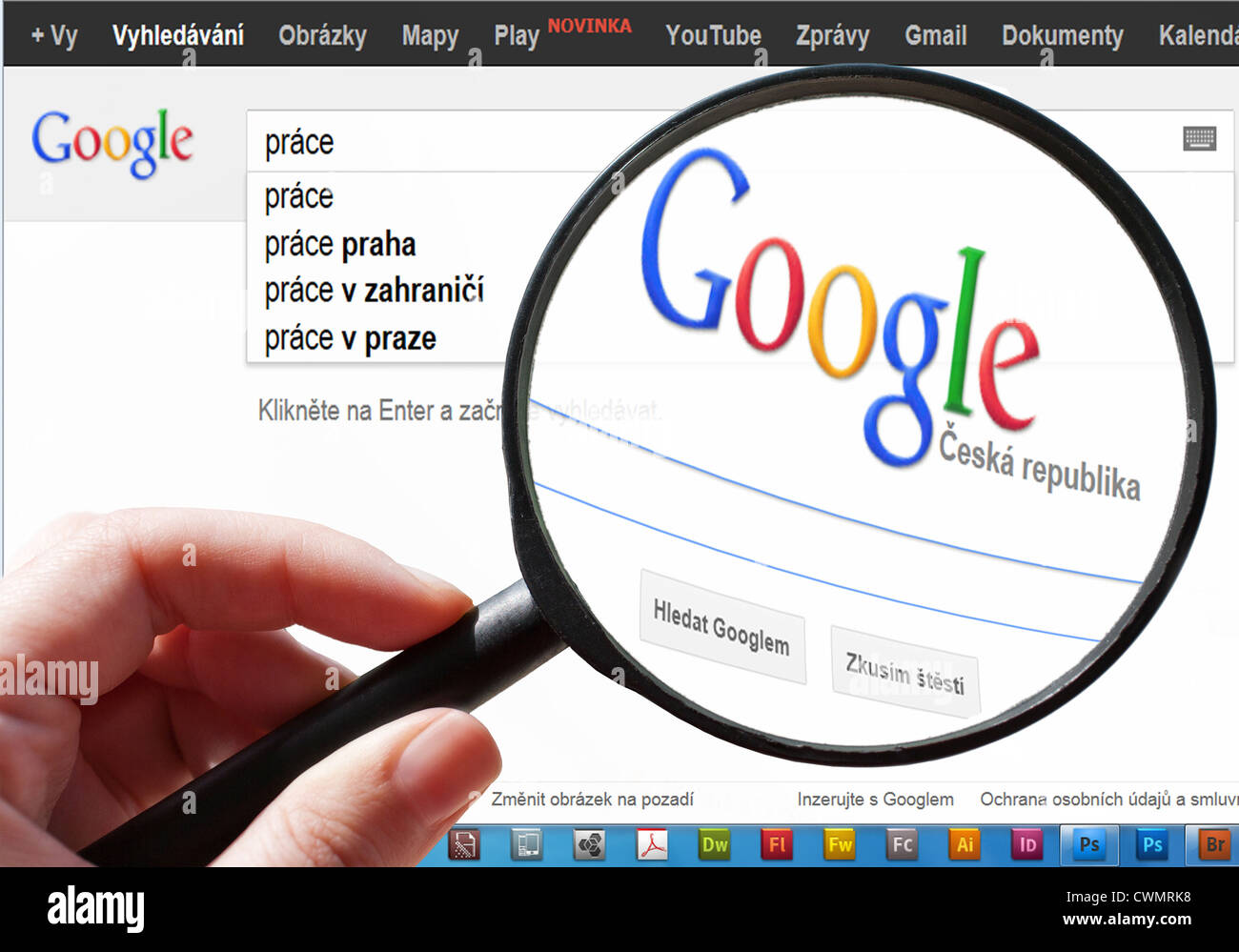 Czech Google - search for job in internet - Stock Image