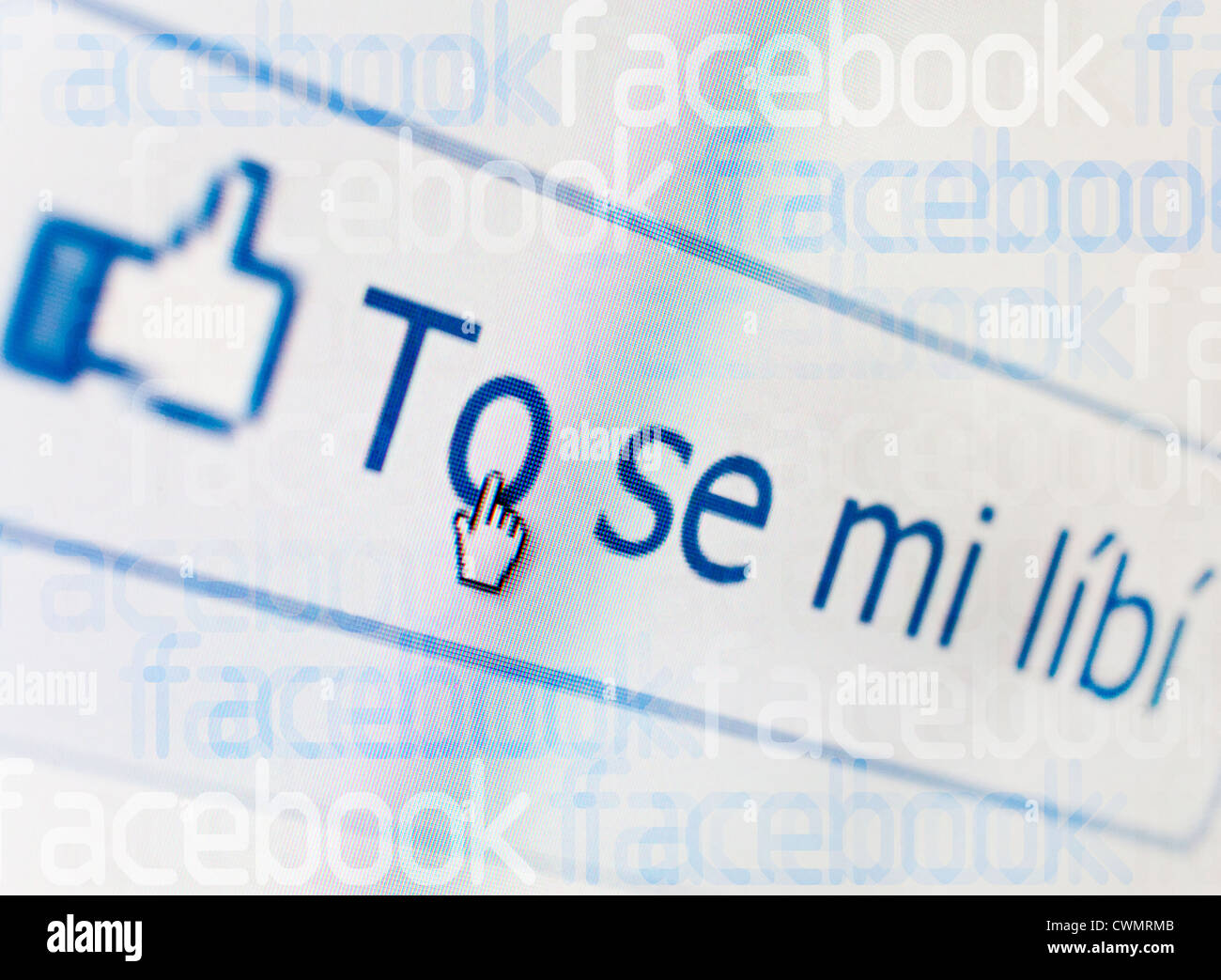 Czech internet - search in facebook - like it button - Stock Image