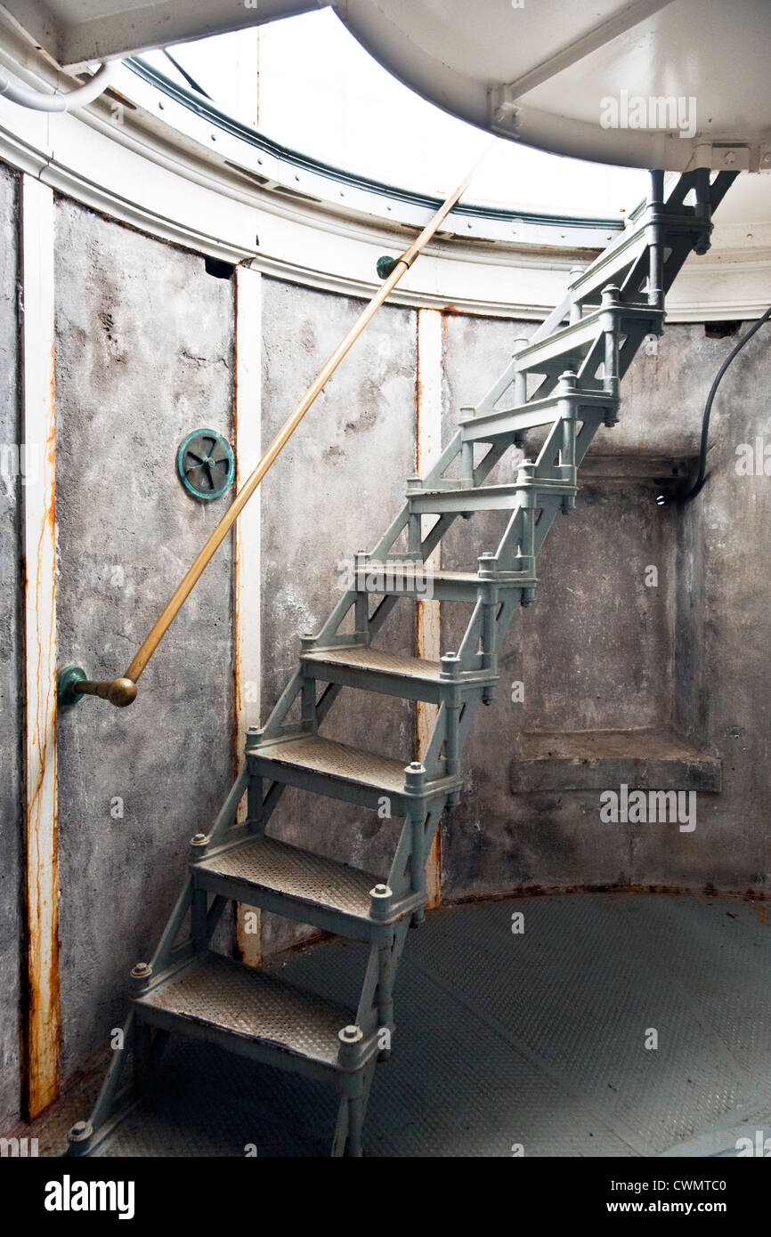 Old Cast Iron Staircase Giving Access To Light Lantern Beacon Chamber In  North Head Lighthouse Long
