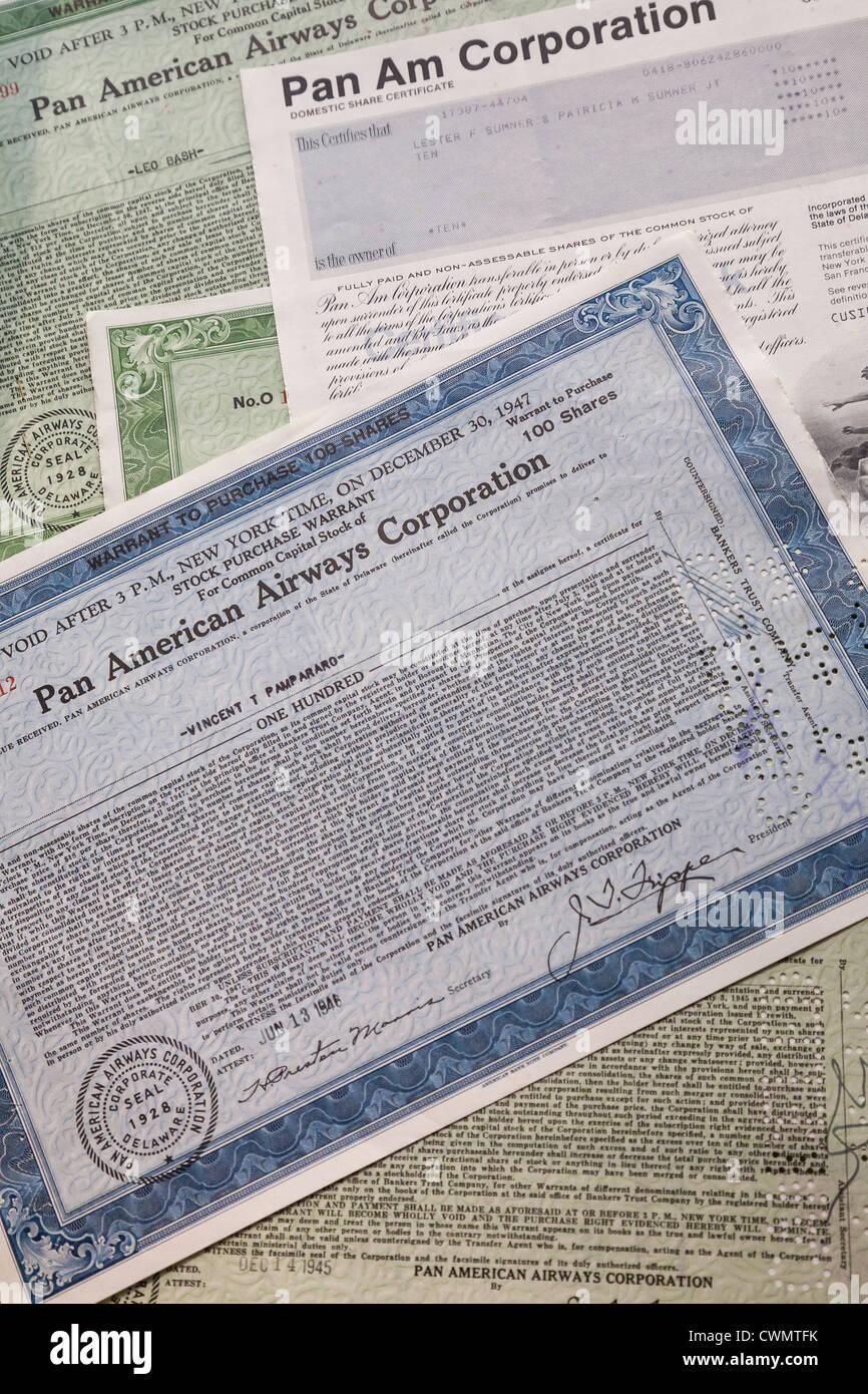 Pan American Airlines Stock Certificates - Stock Image