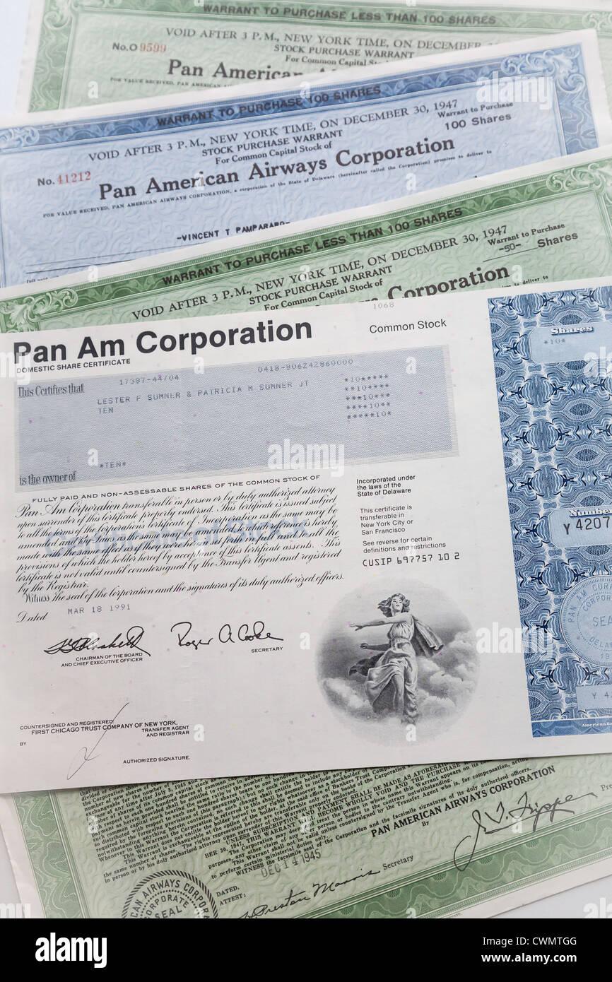 Pan American World Airways Stock Certificate Airline AM