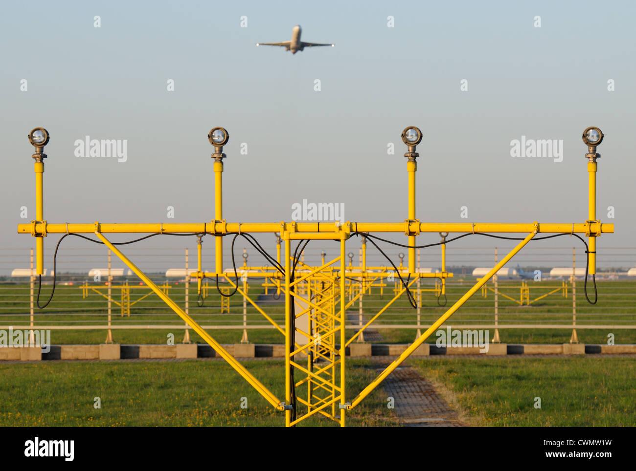 Airport Runway Equipment - Approach Lighting - Stock Image