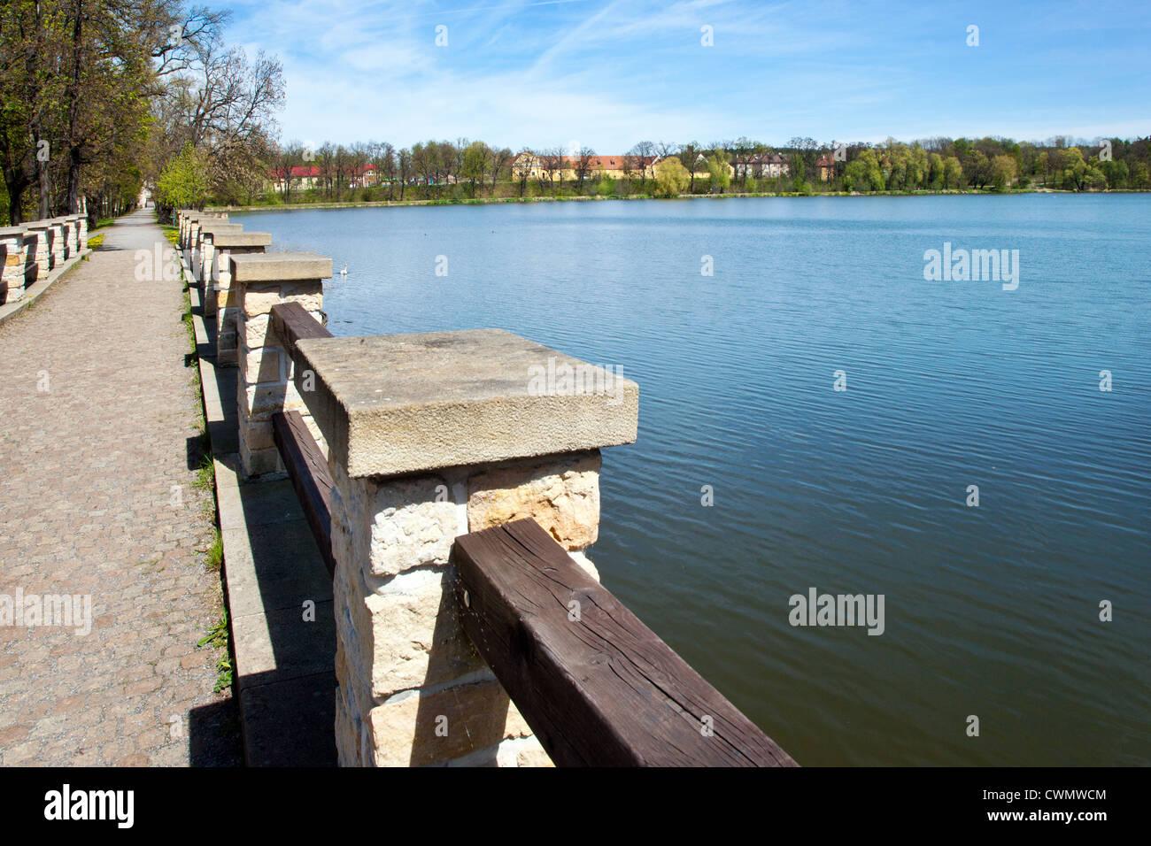 Pocernicky rybnik, Zamecky park, Dolni Pocernice, Praha, Ceska republika Stock Photo