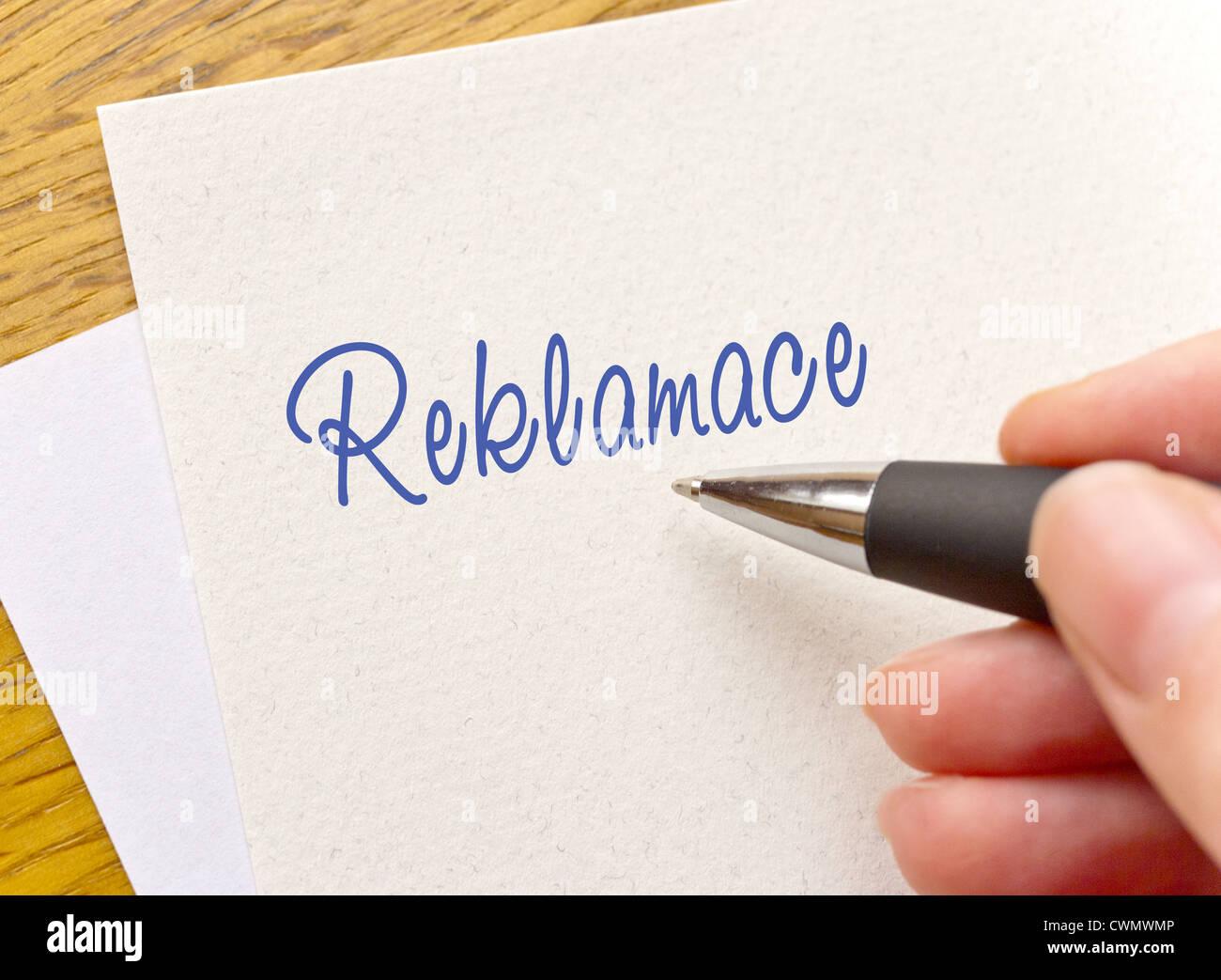 Czech writting - reklamace headline - Reclamation - Stock Image