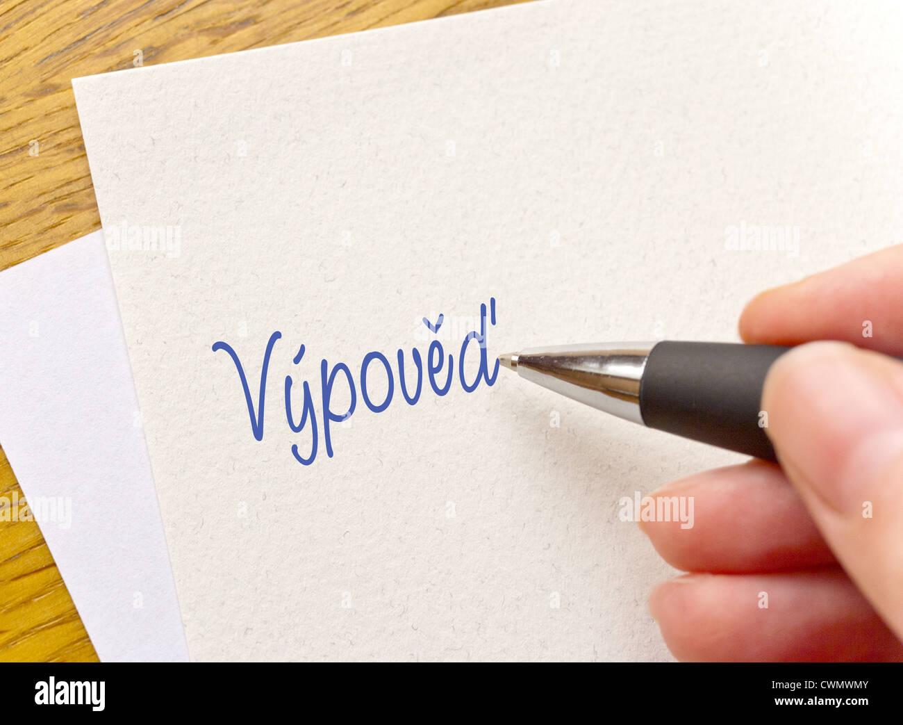 Czech writting - Vypoved headline - resignation - Stock Image