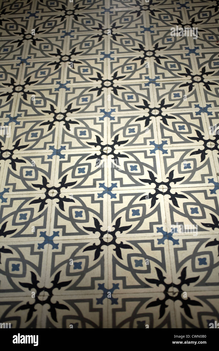 Geometrical figures decorate the floor in a church of Oaxaca, Mexico. - Stock Image