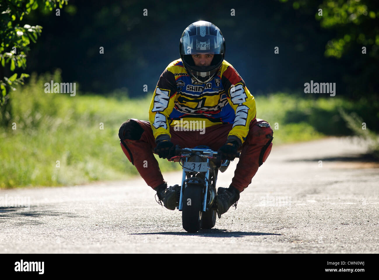 Rider on Minibike - Stock Image