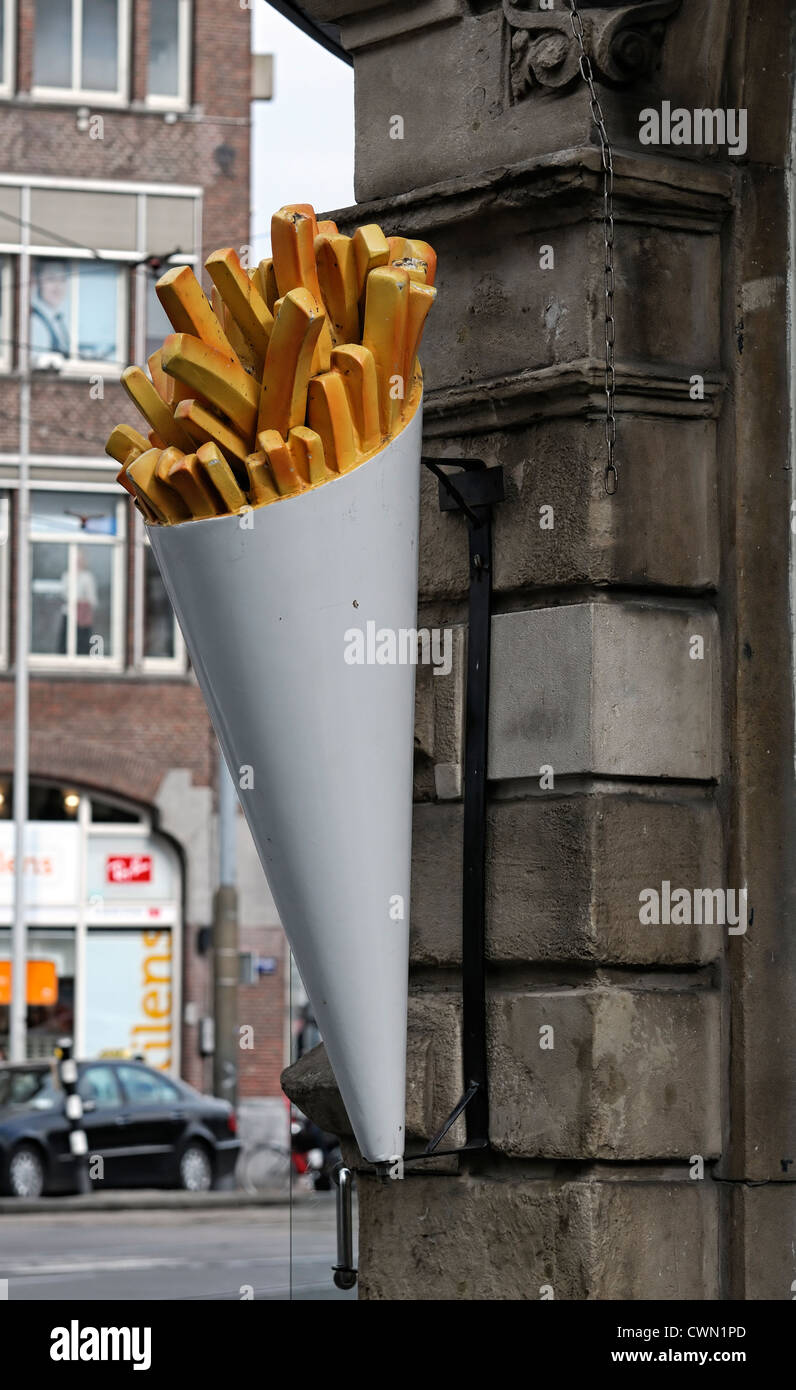 sign advertising advertise promoting promote chips french fries fun funny comic amsterdam holland - Stock Image