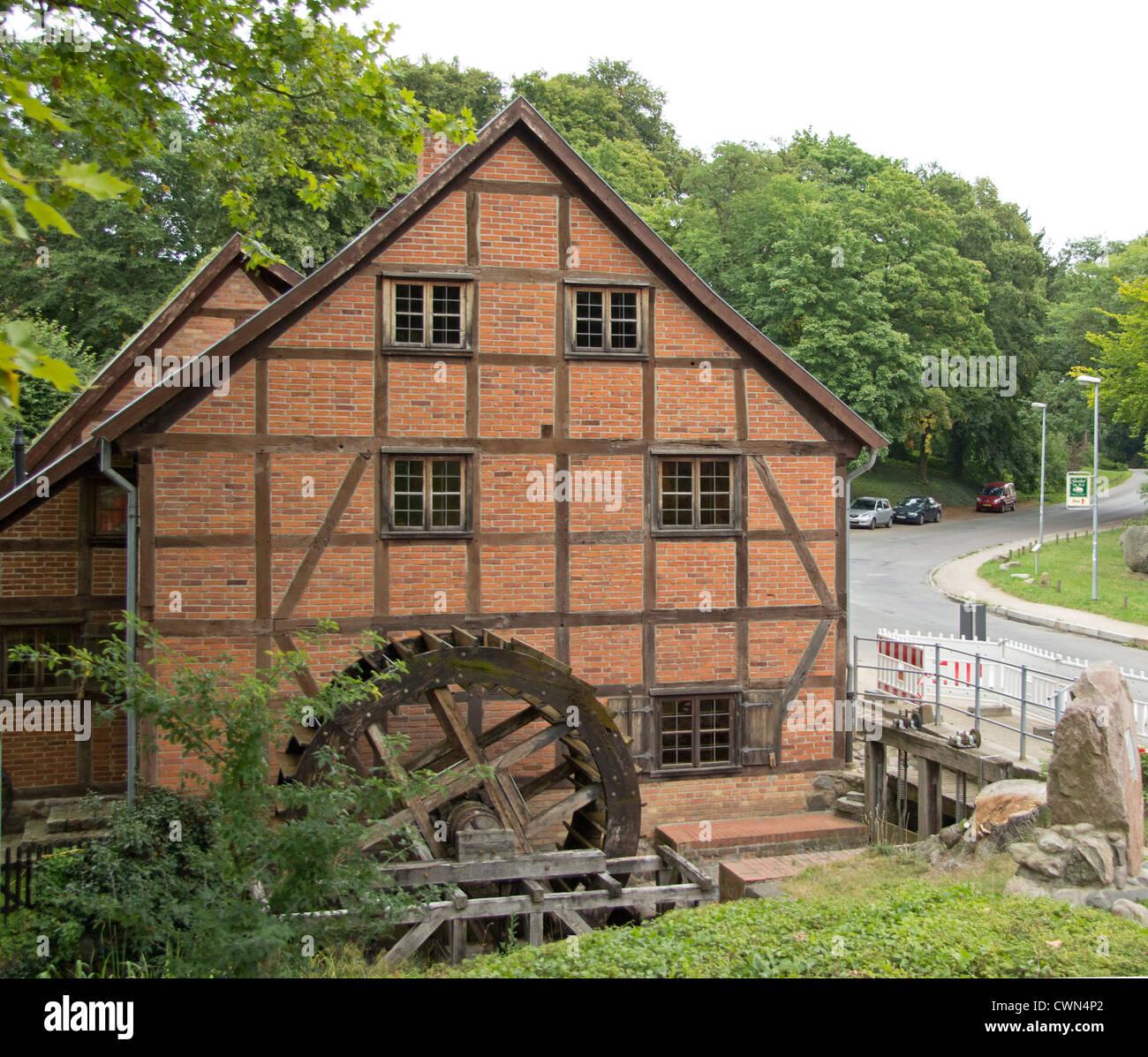 Schleifmuehle (water mill), Schwerin, Mecklenburg-West Pomerania, Germany - Stock Image