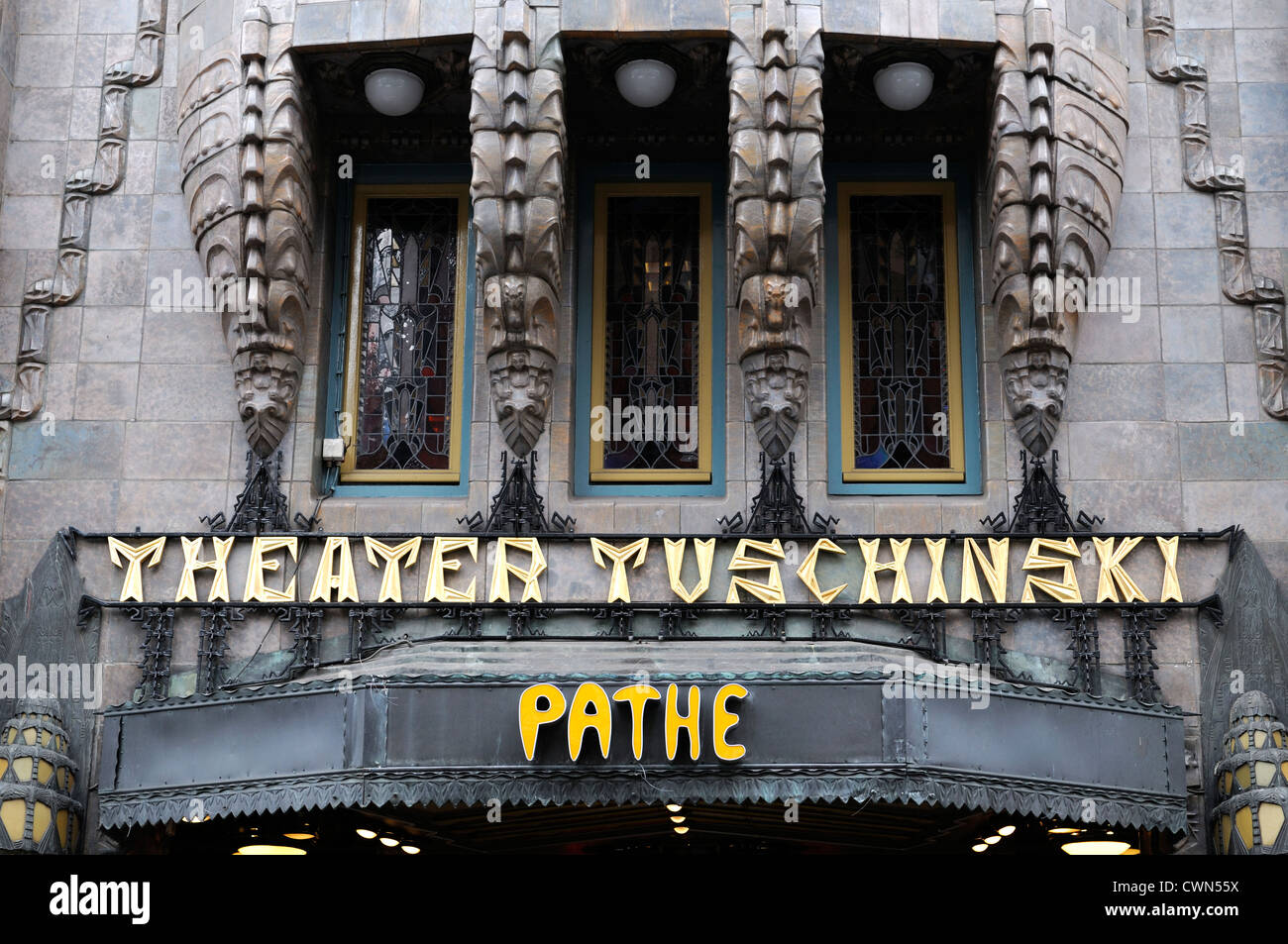 Tuschinski Theatre Pathe Cinemas cinema front facade Reguliersbreestraat amsterdam art deco architecture building - Stock Image