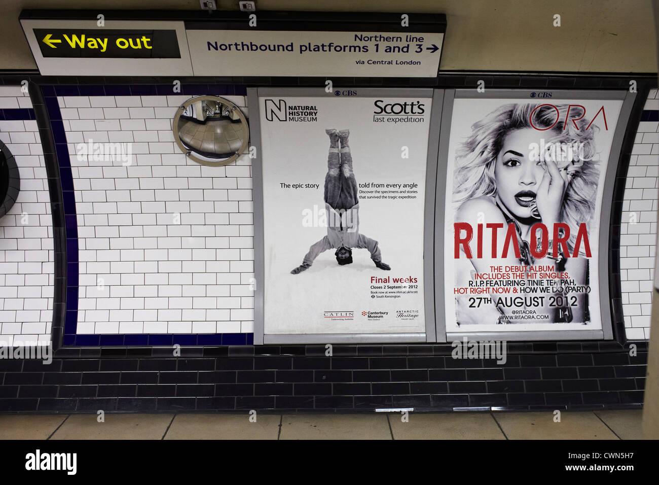 Adshel - Advertising hoardings and back-lit poster and design on the street of London UK. - Stock Image