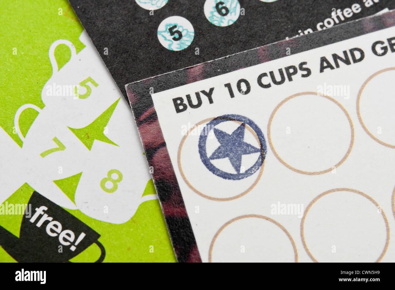 Coffee shop loyalty reward cards. - Stock Image