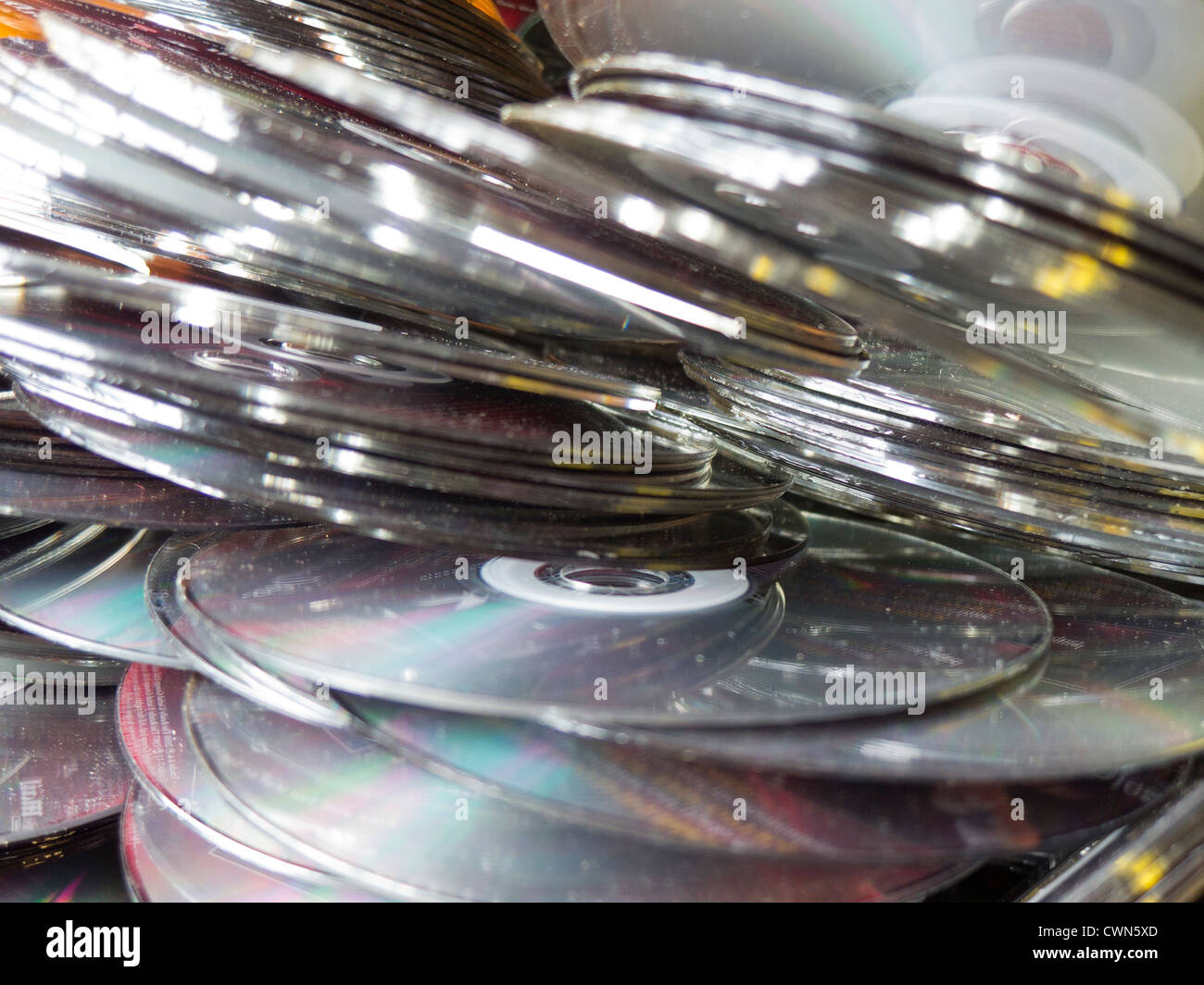 Obsolete 0ld CD DVD optical media discs. - Stock Image