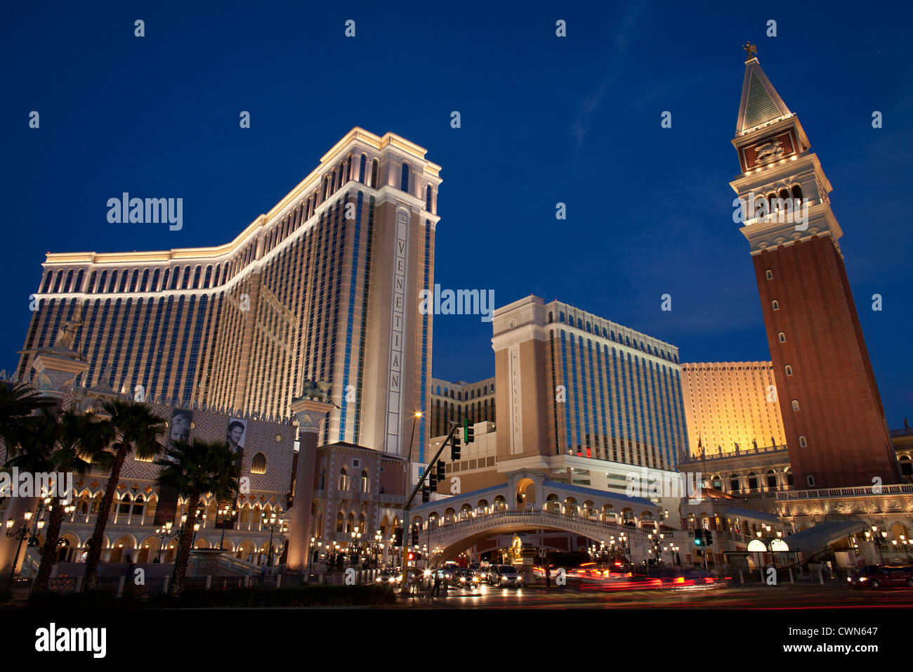 VENETIAN HOTEL & CASINO IN THE TWILIGHT. Unincorporated town of Paradise, near Las Vegas, Clark County, Nevada, - Stock Image