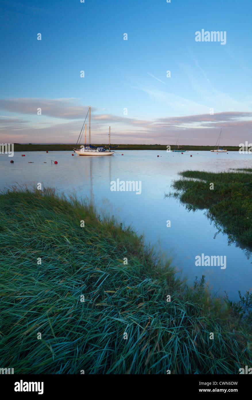 River Axe Estuary at high tide. Near Uphill, Somerset. England. UK. - Stock Image