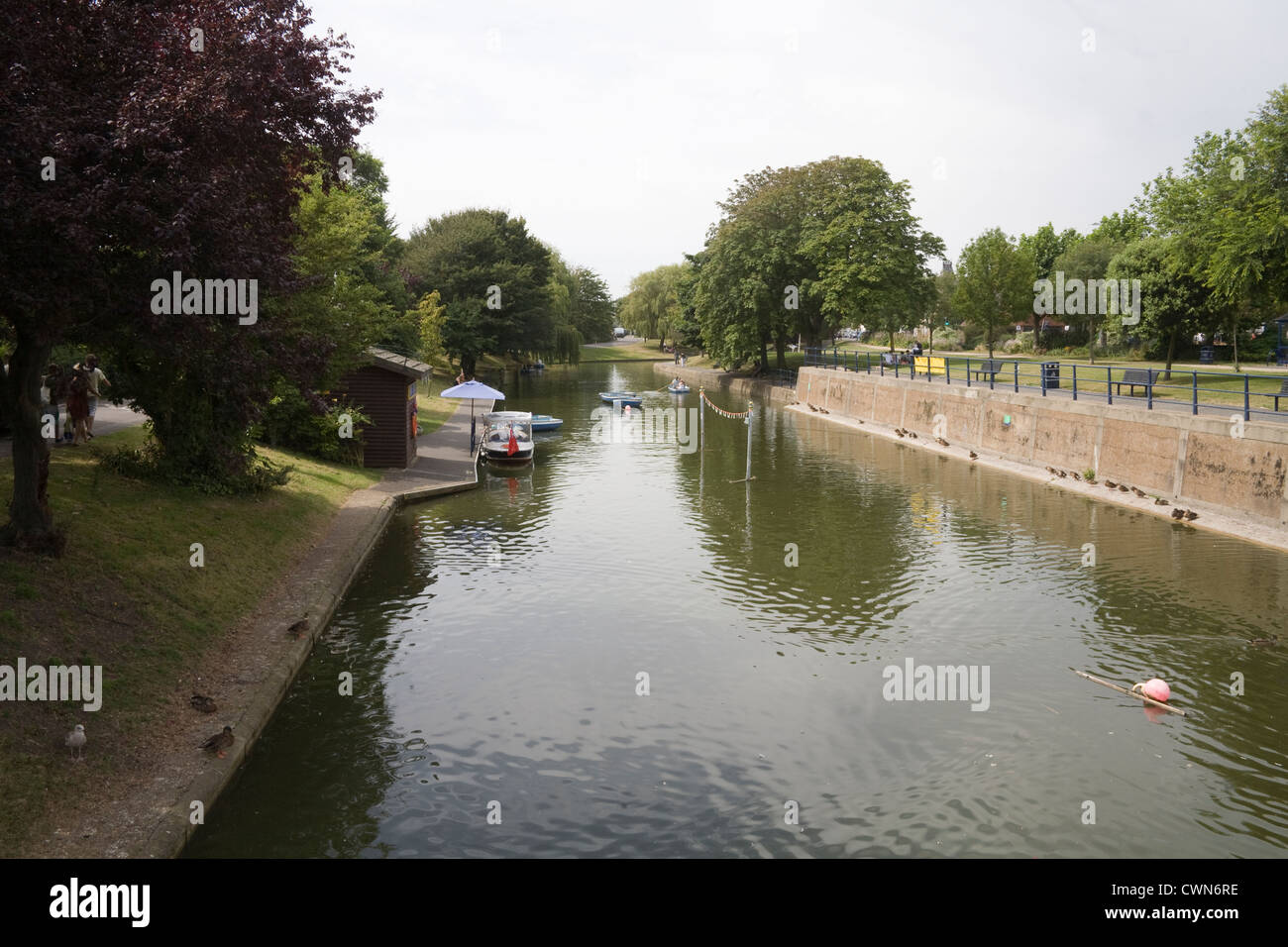 Hythe Kent England UK Rowing boat hire on the Royal Military Canal a military monument in this historic Cinque Port - Stock Image
