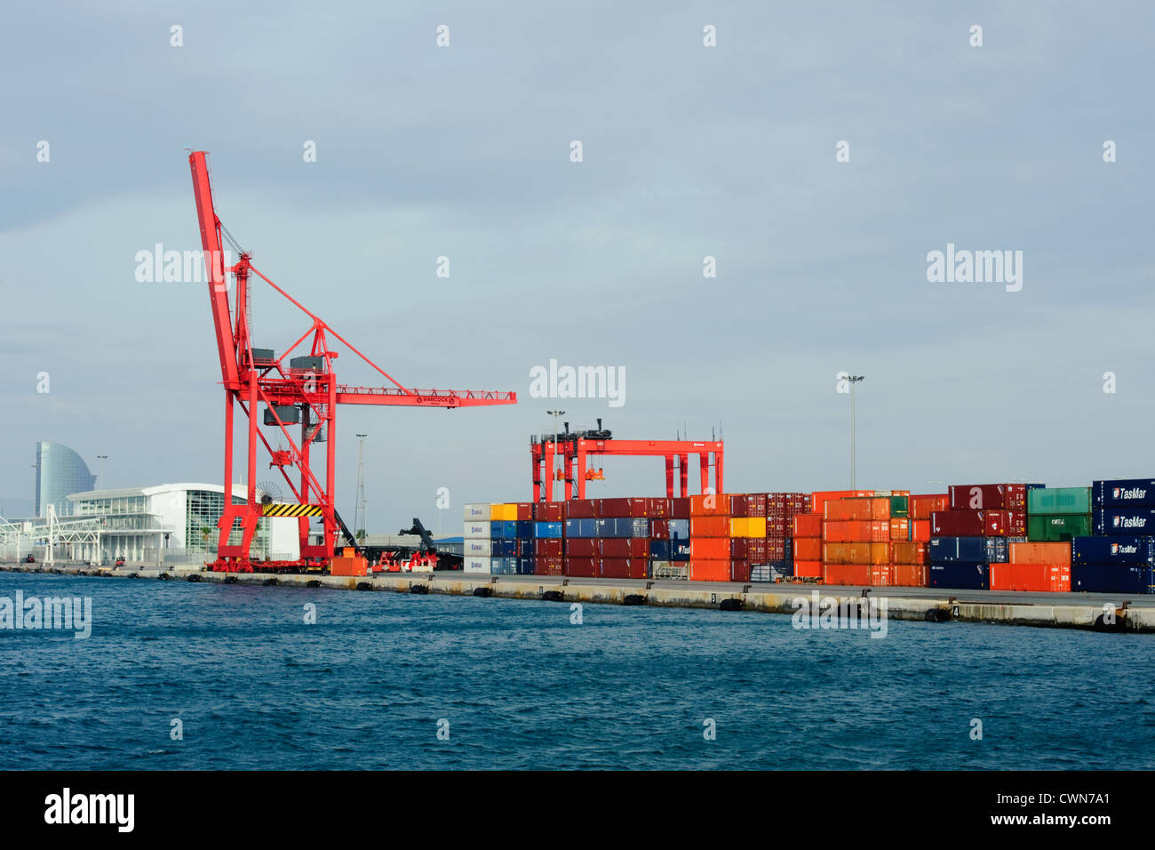 Container Depot and Gantry Crane - Stock Image
