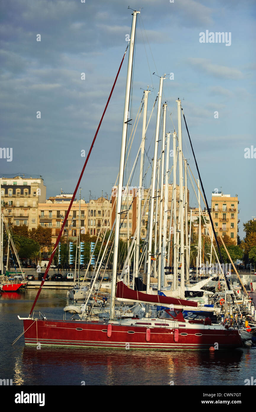 Yacht in Port Vell. - Stock Image