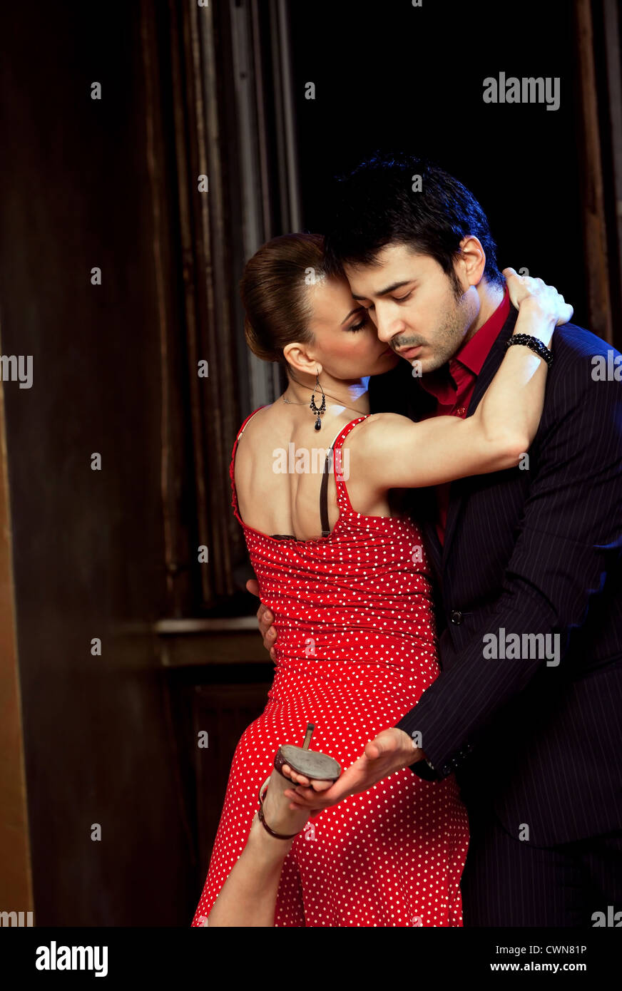 Beautiful dancers performing an argentinian tango. Please check similar images from my portfolio. - Stock Image