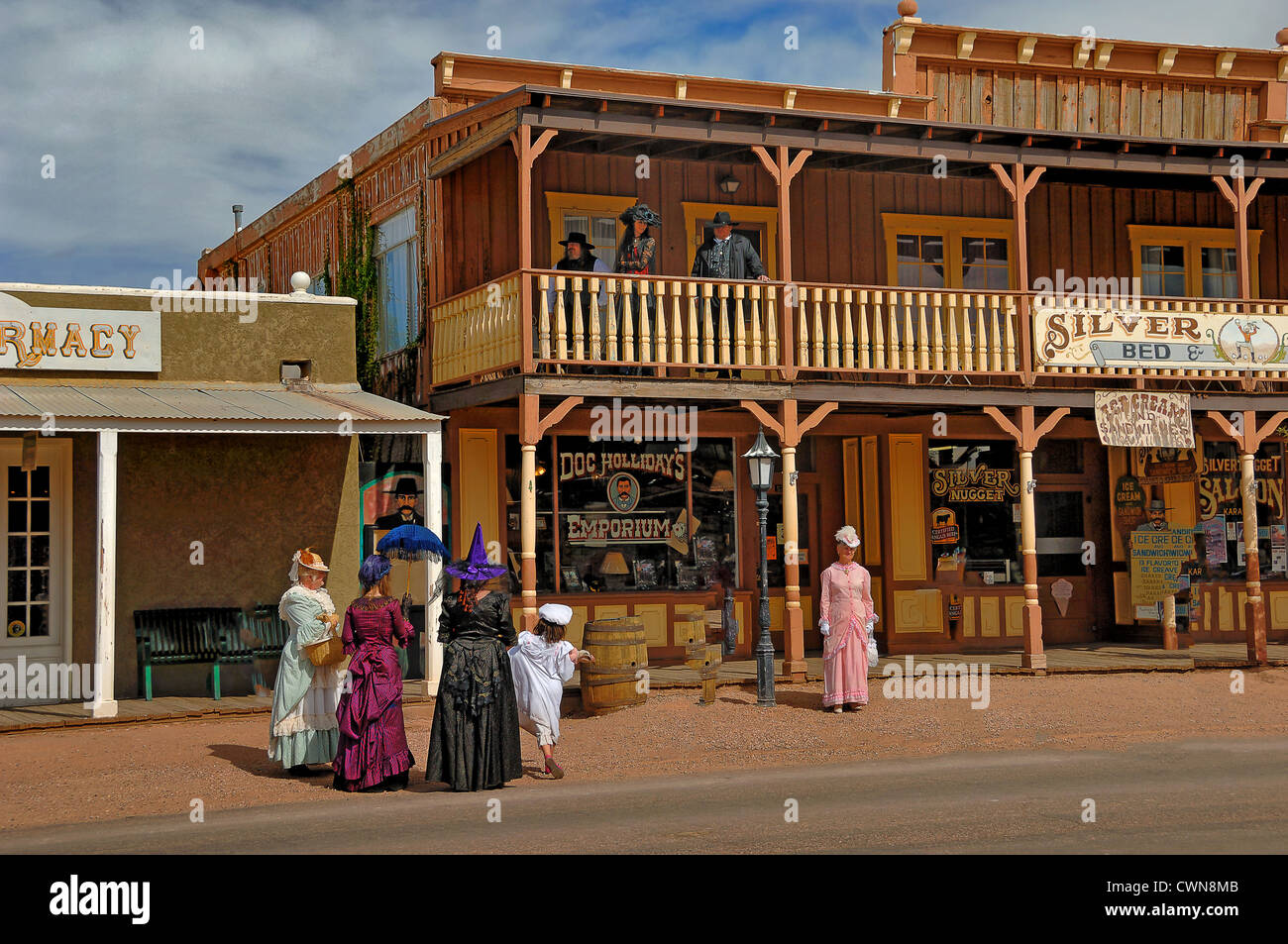 Main Street, in Tombstone City, with people in period dress. Located in Arizona,  United States of America. - Stock Image