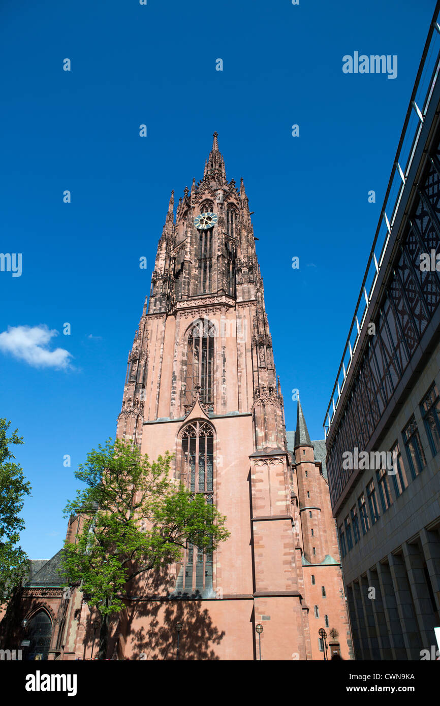 View of the Saint Bartholomew Frankfurt cathedral in Germany - Stock Image