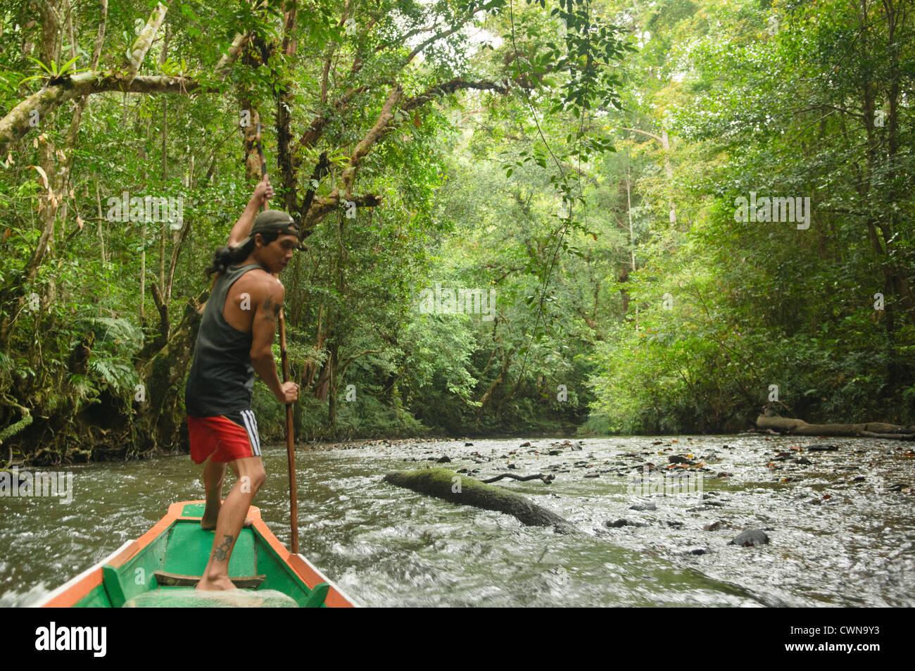 Iban man navigating the river in Batang Ai National Park in Sarawak, Borneo, Malaysia - Stock Image