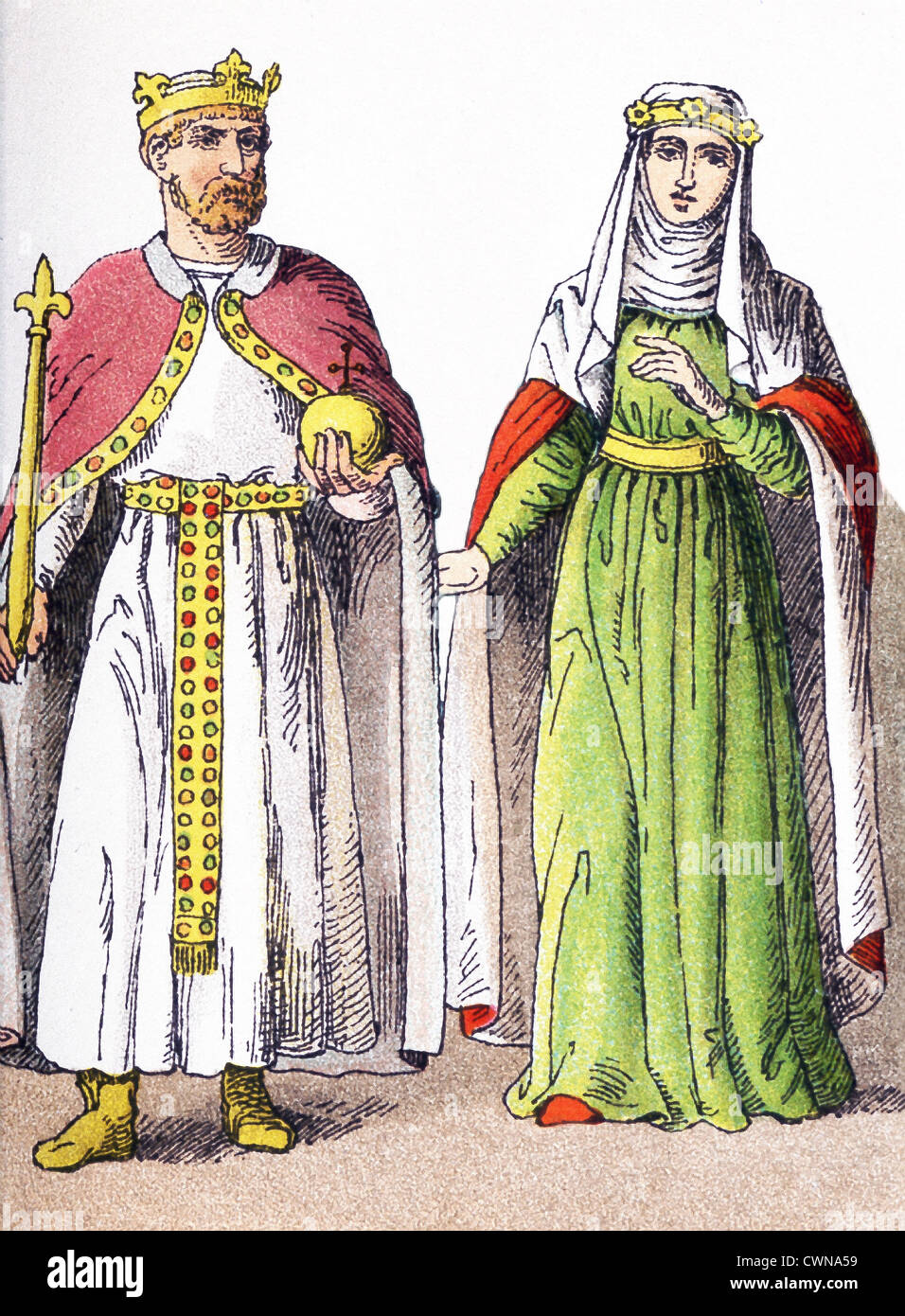 They represent the Emperor Frederick I (Barbarossa) (1190) and the consort of the prince Henry the Lion. - Stock Image