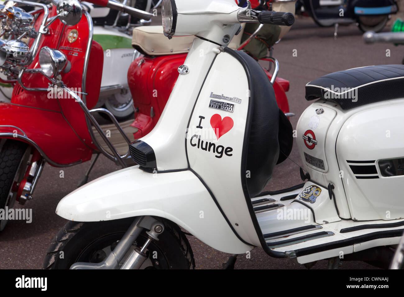 I love clunge sticker on classic lambretta scooter