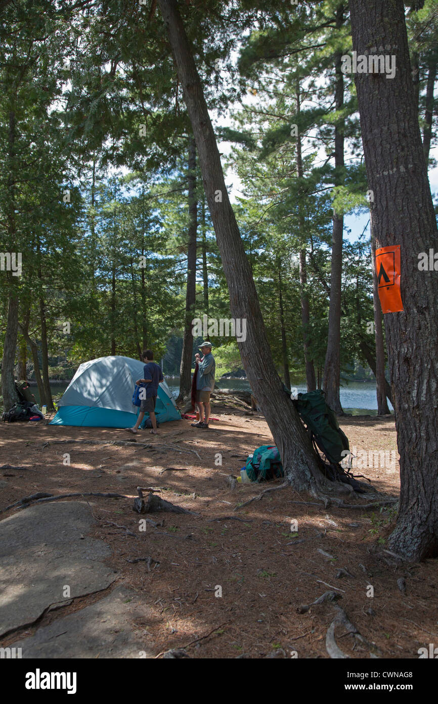 Algonquin Provincial Park, Ontario Canada - John West, 65, and his son Joey, 13, set up their campsite during a - Stock Image