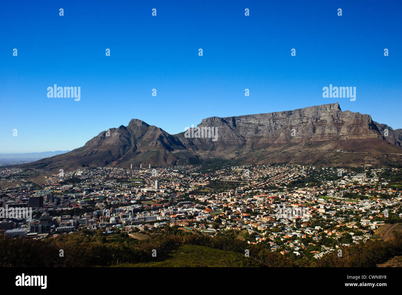 Table Mountain and Cape Town City. - Stock Image