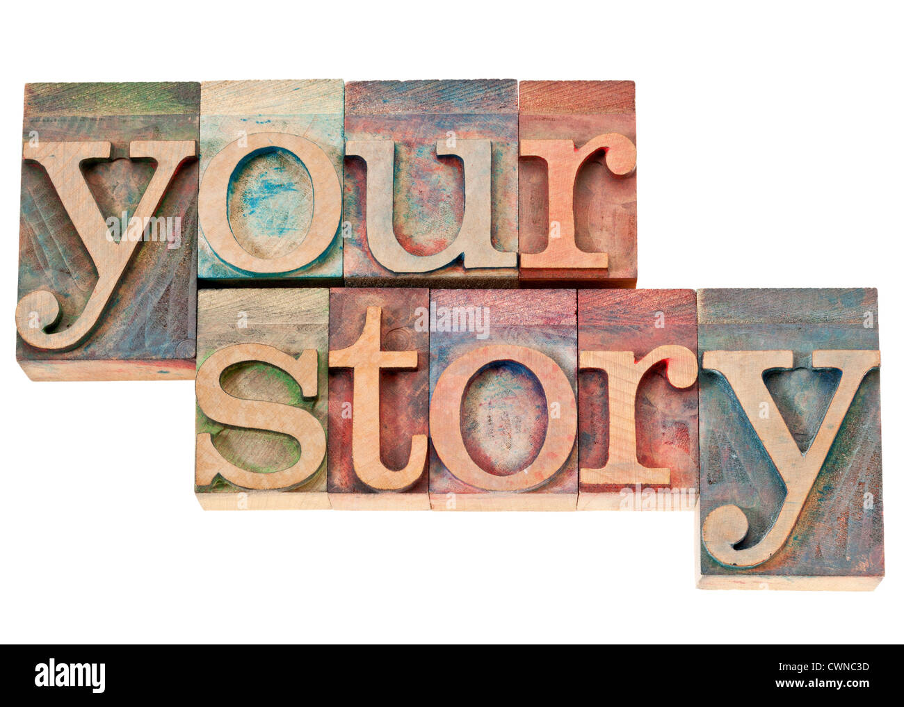 your story - isolated words in vintage letterpress wood type stained by color inks - Stock Image