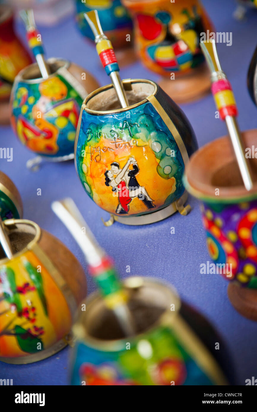 Mate cups at a market in Palermo Soho, Buenos Aires, Argentina. - Stock Image