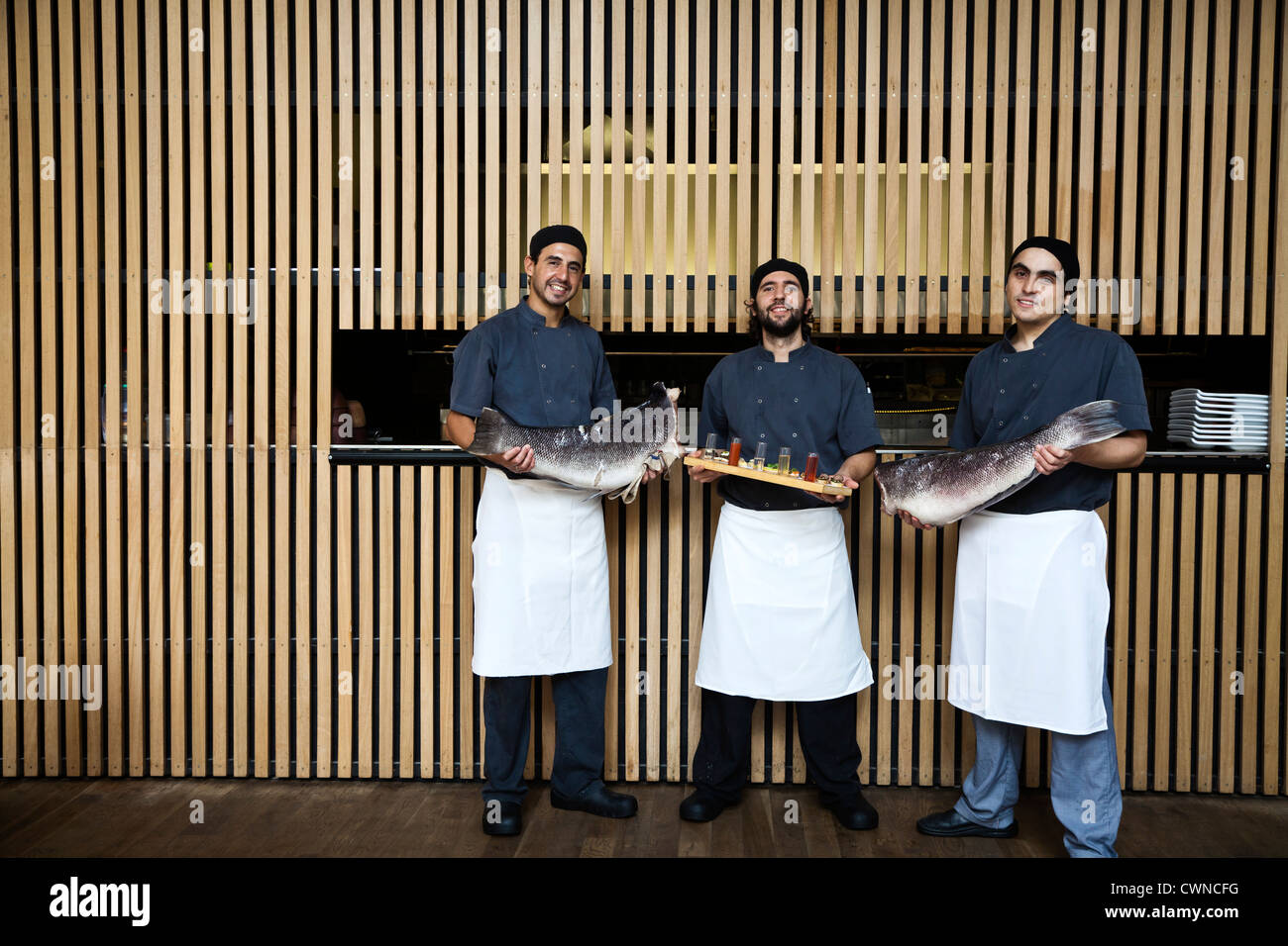 The cooks at Olsen Restaurant, Palermo Hollywood, Buenos Aires, Argentina. - Stock Image