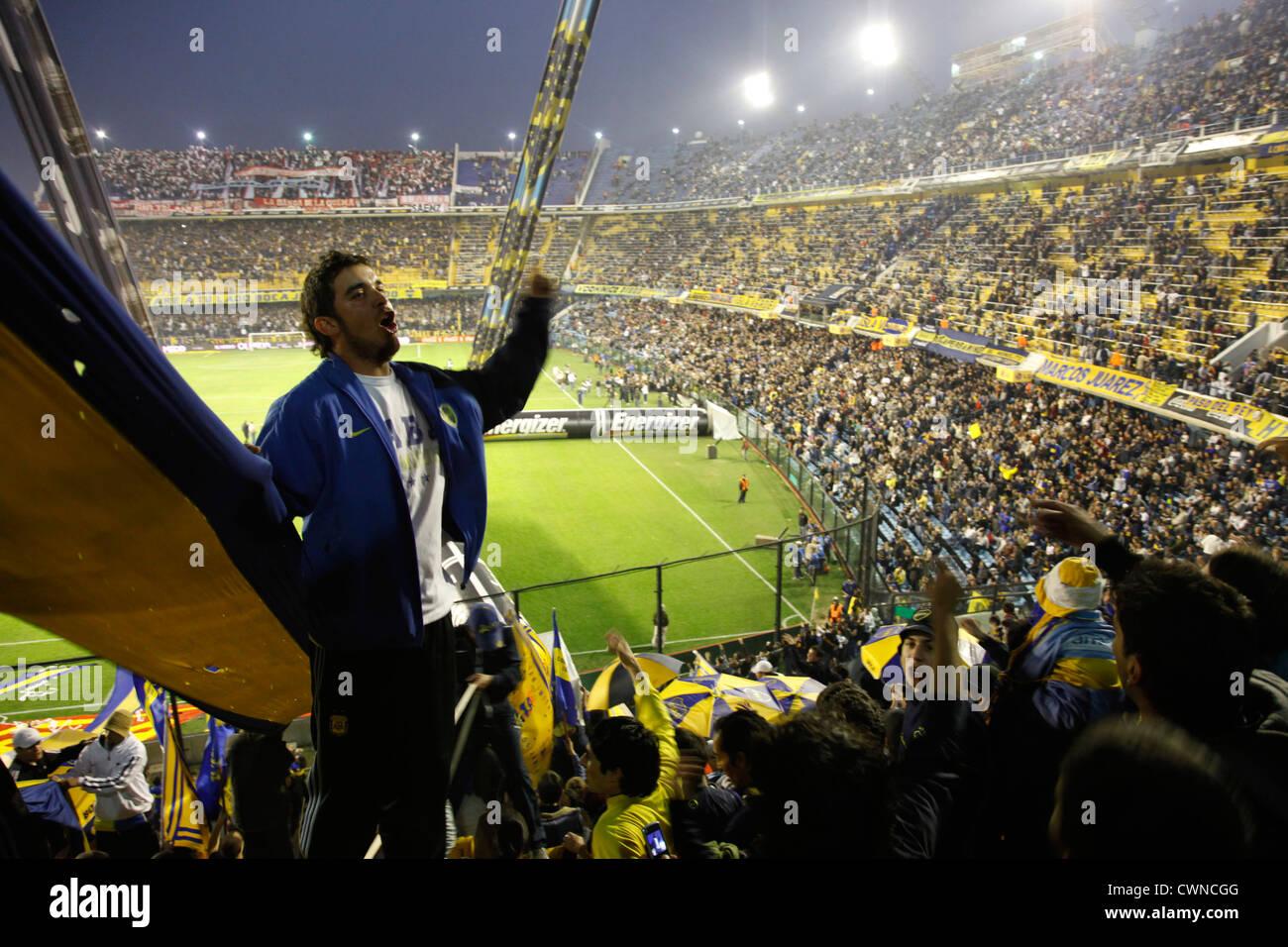 Football match of Boca Juniors at the Bombonera stadium, La Boca, Buenos Aires, Argentina. - Stock Image